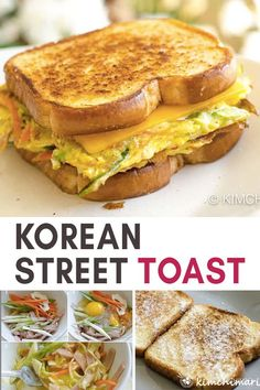 Korean Street Toast (Gilgeori Toast 길거리 토스트) Korean Street Toast made with egg, veggies and cheese. Simple ingredients but the result is an amazing sandwich full of different flavors and textures. Great for breakfast or brunch! Toast Sandwich, Korean Street Food, Korean Food, Brunch Recipes, Breakfast Recipes, Breakfast Toast, Breakfast Casserole, Kitchen Recipes, Cooking Recipes