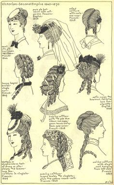 Here is a more common array of hairstyles, mostly among women that were upper/middle class. As you can see, the hairstyles were just as or more flamboyant as the dress. This helped exhibit your wealth and status, maybe even deceiving the public if you actually weren't as wealthy as you looked.