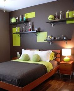 Bright Green on a black wall teen boys room fun and contemporary decor idea, Neon Green Decor