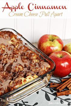 Apple Cinnamon Cream Cheese Pull Apart ~ Rhodes Dinner Rolls stuffed with cream cheese, cinnamon and apples!