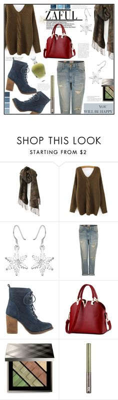 """""""ZAFUL #1"""" by jckallan ❤ liked on Polyvore featuring Current/Elliott, Steve Madden, Burberry, Urban Decay, EB Florals, rustic, cozy and camo"""