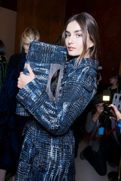 Digitally printed tie-dye in a wash of blue hues backstage at Stella McCartney AW14 PFW. More images here: http://www.dazeddigital.com/fashion/article/19138/1/stella-mccartney-aw14