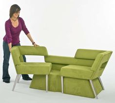 Expanding Modular Seating: Phil Crook's Compact Sofa System Slides Out Into Chairs for Company