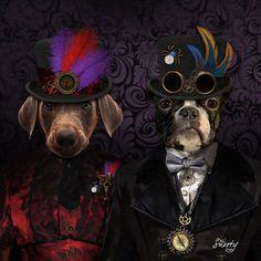 Steampunk Couple PET PORTRAIT Custom Dog by CustomPetPrints