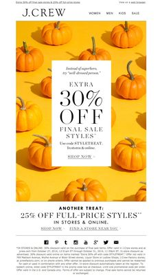 #newsletter J.Crew 10.2014 Pumpkins, people. Pumpkins. (And 30% off final sale styles.)