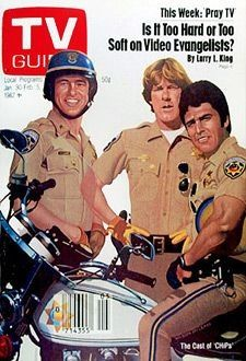 "January Robert Pine, Larry Wilcox, and Erik Estrada of NBC's ""CHiPs"" (illus. Larry Wilcox, Nostalgia, Radios, Little Bit, Old Shows, Great Tv Shows, Vintage Tv, Tv Guide, Classic Tv"