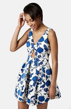 Topshop Cutout Rose Print Dress