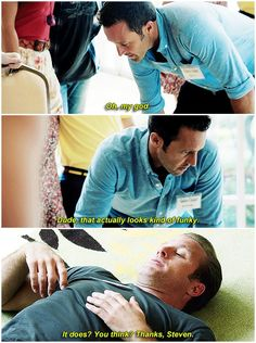 hawaii five 0 mcdanno alex o'loughlin scott caan h50: 6x11 the adventures of steven and daniel steve's little 'oh my god' 'i wasn't expecting this' it kills me