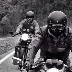 SERIOUS riders!  Avoiding windburn and bugs in your teeth becomes a higher priority with every 500 miles you ride...