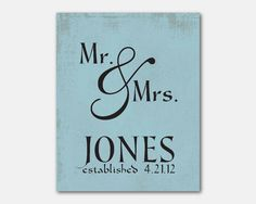 Personalized Wedding Art - Mr. and Mrs. - Anniversary Gift - Ampersand - Typography - 8 x 10 on Etsy, $15.00
