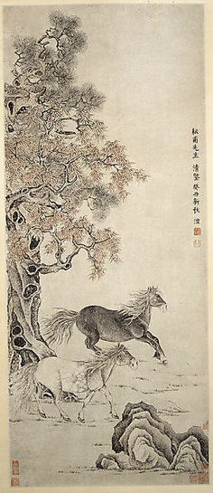 Qian Feng (Chinese, 1740–1795). Two Horses, dated 1793. The Metropolitan Museum of Art, New York.The C. C. Wang Family Collection, Gift of C. C. Wang, 1997 (1997.438.3) | Executed at the height of the artist's career, Two Horses is a study in complements: dark and light horses; earthen shoreline and rocky outcrop; and contrasting species of trees. #horses