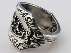 Sterling Silver Spoon Ring Size 8 Rose Point by dankartistry, $68.00
