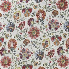 F3310 Berry Red Fabric, Floral Fabric, Floral Motif, Greenhouse Fabrics, Upholstered Bench, Jacquard Fabric, Natural World, Floral Embroidery, Berries