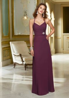 Chiffon with beaded edged halter straps. Shown in Eggplant. Colors Available: Please refer to the Mori Lee Chiffon color swatch card. Sizes Available: 2-28.