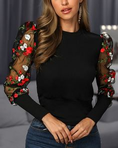 Style:Fashion Pattern Type:Patchwork Material:Polyester Neckline:Round Neck Sleeve Style:Long Sleeve Decoration:Mesh Length:Regular Occasion:Casual Package Blouse Note: There might be Trend Fashion, Latest Fashion, Style Fashion, Womens Fashion Online, Blouse Styles, Floral Embroidery, Pattern Fashion, Shirt Blouses, Blouses For Women