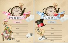 Vintage inspired Alice in Wonderland party Invitation art set of 8   #Handmade #Party