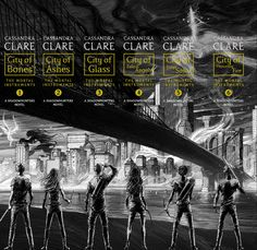 The spines of the repackaged Mortal Instruments. The six characters pictured follow the six characters on the covers. Jace, Clary, Simon, Isabelle, Alec, and Sebastian.