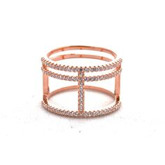 Rose Gold Pave Crossroads Ring