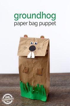 Groundhog Paper Bag Puppet
