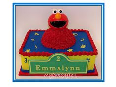 Elmo! Elmo! Elmo!  9x13 two layer white vanilla sour cream cake with strawberry filling and vanilla buttercream.  Elmo's head is a little snack bowl!