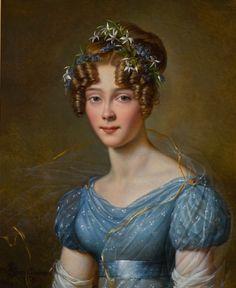 Alexandre-Jean Dubois-Drahonet PORTRAIT OF AMÉLIE DU BOIS (1803–91), WIFE OF LT.-GEN. EMILE JOSEPH FRISON, AIDE TO KING LEOPOLD II, IN A BLUE MUSLIN DRESS, WITH FLOWERS IN HER HAIR