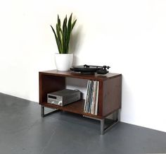 Sefton Record Player TV Stand with Vinyl Storage Cabinet
