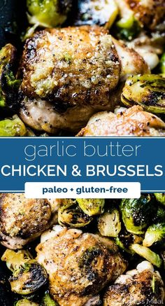 Crispy Garlic Butter Chicken and Brussels Sprouts SAVE FOR LATER! Garlic Butter Chicken and Brussels Sprouts is a super easy to make ingredient!) and healthy autumn dinner recipe. It's made on the stovetop with only one pan so clean up is a breeze, too! Meat Recipes, Paleo Recipes, Whole Food Recipes, Cooking Recipes, Healthy Recipes For Two, Whole 30 Chicken Recipes, Cooking Kale, Cooking Bacon, Paleo Food