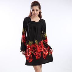 1a4b0d29070 New 2014 Pregnant Clothes Spring Autumn Gravida Fashion Print Wool Large  Rose Flower Long-Sleeve Maternity Dress Plus Size Black