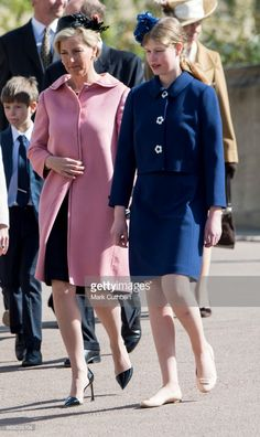 Sophie, Countess of Wessex and Lady Louise Windsor attend the Easter Day service at St George's Chapel on April 16, 2017 in Windsor, England. (Photo by Mark Cuthbert/UK Press via Getty Images)