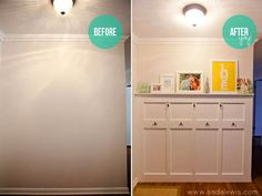 Entry Way?  Board  Batten in the entry hall. Reader Redesign: Blank Wall to Big Welcome | Young House Love