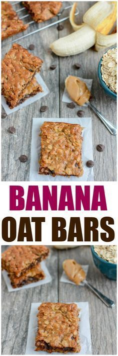 Kids Health These Easy Banana Oat Bars are gluten-free, dairy-free, kid-friendly and make the perfect snack. Grab the kids and try this recipe today! - These Easy Banana Oat Bars are gluten-free, kid-friendly and make the perfect snack. Baby Food Recipes, Dessert Recipes, Cooking Recipes, Picnic Recipes, Gluten Free Desserts, Gluten Free Recipes, Healthy Desserts, Healthy Recipes, Easy Banana Desserts