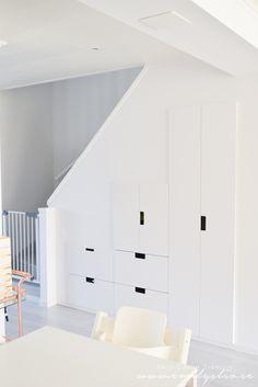 Ni är många som frågat om hur vi gjorde när vi byggde in förvaringen under trappan. så ska försöka förklara det så gott jag kan! ;) Vår varmvattenberedare stod tidigare i köket, men den valde vi istället att gömma under trappan. Sen använde vi oss av IKEAs stuva system. Det fick nästan precis plats