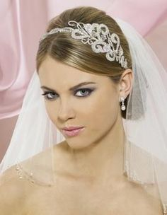 Symphony Bridal Headband Tiara off retail Wedding Headband, Wedding Tiara Hairstyles, Bridal Headbands, Fascinator Headband, Bridal Tiara, Wedding Veils, Bridal Makeup Tips, Braut Make-up, 98