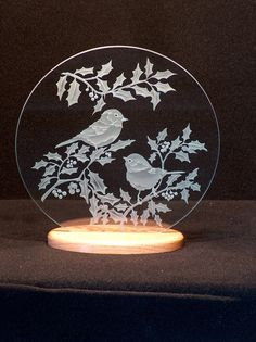 Carved Glass Chickadees and Holly 12 inch by braithwaitestudios