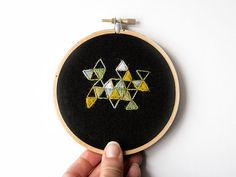 Geometric Abstract Embroidery - 4 Inch Hoop Art - Crewel Stitches - OOAK - Hand Stitched - Quirky Triangles - Black