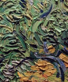 """Detail from Van Gogh's """"Wheat Field with Cypresses""""."""