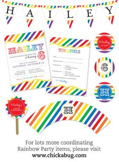 Rainbow Party Photo Invitations Professionally por Chickabug