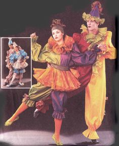 Mens Womens Cirque Clown Costume Pattern Butterick 3598 OOP