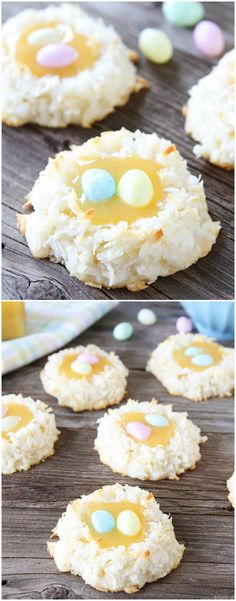 Coconut Lemon Macaroon Nests by  twopeasandtheirpod #Cookies #Macaroon #Coconut #Lemon #Nest