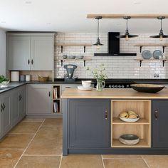 Open Plan Kitchen Dining, Cozy Kitchen, Shaker Kitchen, Oak Shelves, Kitchen Handles, Kitchen Cabinets, Kitchen Island, Open Shelving, Kitchen Remodel