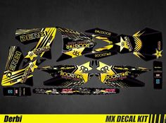 Kit Déco Moto pour / Mx Decal Kit for Derbi 50 - Rockstar Motorcross Bike, Motocross, Kit, Bike Stickers, Star Wars, Custom Wraps, Yamaha, Trail, Decals