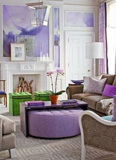Ottoman and coffee table Radiant Orchid Interiors Inspired by Pantone's 2014 Color of the Year | The Vivant