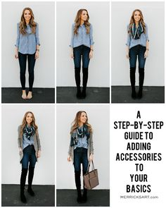 A Step By Step Guide for Adding Accessories to an Outfit Source by rapunzelpinned casual como combinar Basic Outfits, Mode Outfits, Simple Outfits, Casual Outfits, Fashion Outfits, Womens Fashion, Fashion Trends, Fashion Advice, Chambray Shirt Outfits