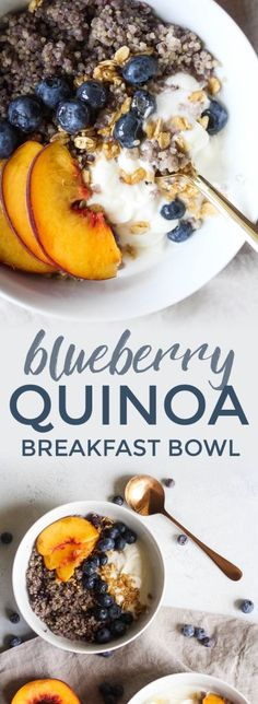 An unsuspecting breakfast ingredient, these Blueberry Quinoa Breakfast Bowls prove that quinoa is an incrediby versatile food. Sweet blueberries, soft yet crisp