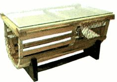 """lobster trap coffee table wine rack """"made in usa"""" 