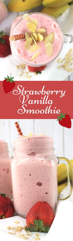 Strawberry Vanilla Smoothie is one of my favorite breakfast smoothies packed with protein and nutrients to get you and your family moving in the morning!