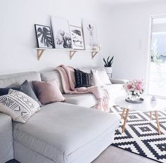 Pink and grey living room http://www.publicdesire.com/?utm_source=Pinterest&utm_medium=Social&utm_campaign=Campaign_Pinterest Hanging Out, Front Rooms, You Changed, Boho Chic, Budgeting, Advice, Decorating, Throw Pillows, Couch