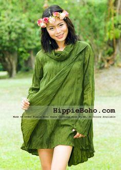 33886925880 Size Hippie Boho Bohemian Gypsy Olive Green Long Sleeve Tunic Plus Size  Dress Lightweight Cotton