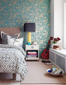 Black, White, Yellow, and Turquoise Bedroom...: fromMark Lund
