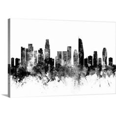 "GreatBigCanvas ""Los Angeles California Skyline"" by Michael Tompsett Canvas Wall Art, Multi-Color Abstract Canvas, Canvas Wall Art, Sorority Canvas, Thing 1, Los Angeles California, Canvas Crafts, Watercolor Art, Vibrant Colors, Skyline"